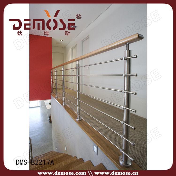 室内楼梯不锈钢拉丝栏杆及走廊不锈钢栏杆实木扶手