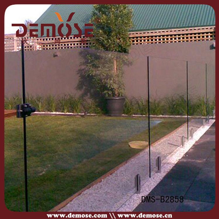 欧洲私人别墅落地玻璃夹泳池栏杆 室外玻璃围墙护栏dms-b2856