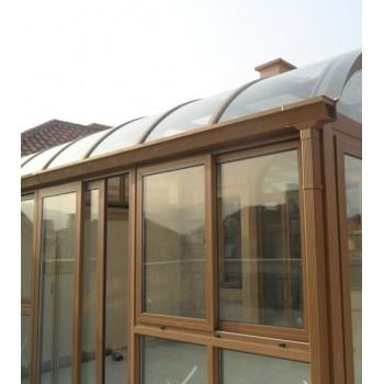 材料商城,阳光房,木结构阳光房,弧顶设计 铝木复合