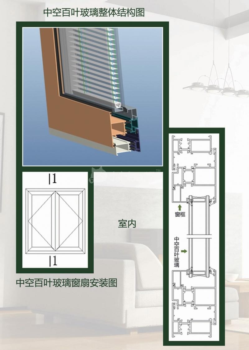 工作原理:手动中空内置百叶玻璃是一种物理磁性传动系统,让百叶完成180°翻转,也可以实现内置百叶的提升和放下。该系统的使用的是物理永磁铁,利用外侧手柄带动内侧传动实现操作。 特点: 节能性:是普通中空玻璃(6mm)的3倍以上的厚度,有更宽阔的空气层和遮光材料,具有更卓越的隔音、隔热和遮阳性能; 控光性:根据一天的阳光变化可随意调整百叶窗帘的遮光角度,保证用户享受最佳的光线,又随时还原私密空间; 美观性:建筑物内无需安装窗帘、窗帘轨道、外遮阳等,除节约空间外,更带来全新的时尚及品味的装饰效果; 清洁