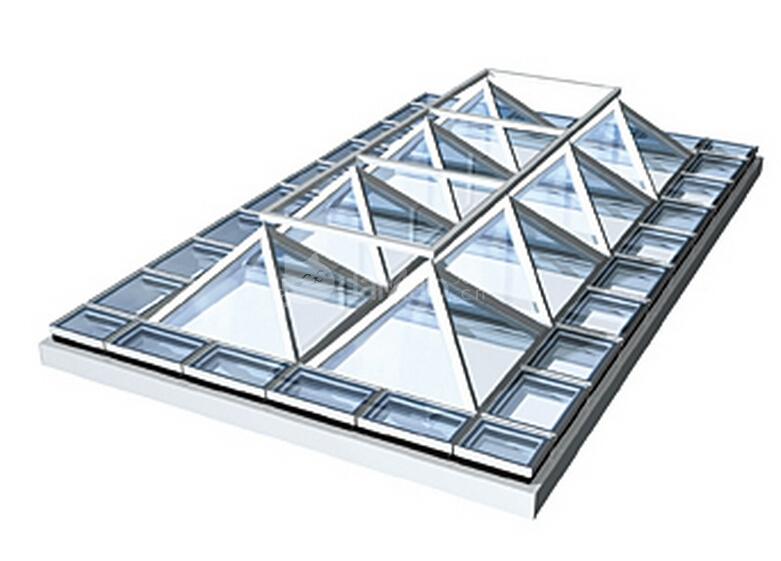 玻璃采光顶的支撑结构形式多样,常用的有钢架及钢桁架,预应力索杆结构